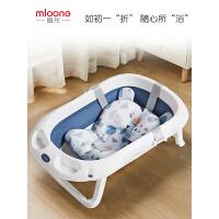 曼龙婴儿折叠浴盆宝宝洗澡盆可坐躺沐浴桶新生儿童洗澡桶大号家用含浴垫