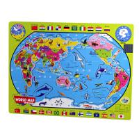 木制拼图―小号少儿世界地图(【学+玩】 早教?益智?认知,适合3~12岁儿童。)