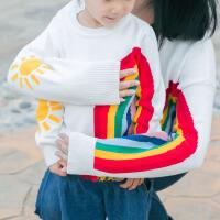 儿童2018年新款亲子装童装毛衣太阳彩虹流苏套头母女装宝宝毛衣
