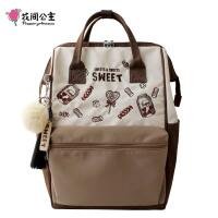 花间公主SWEET2019春夏女士背包双肩包休闲文艺刺绣尼龙布书包
