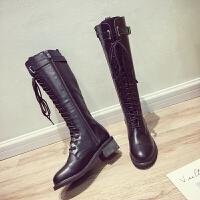 过膝长靴女2018春秋新款学生显瘦粗跟长筒靴小辣椒复古系带骑士靴 黑色