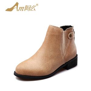 阿么秋季牛皮单靴低跟复古踝靴平底短靴