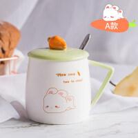 兔子杯子陶瓷杯女学生韩版带盖勺马克杯可爱咖啡杯创意潮流喝水杯a233