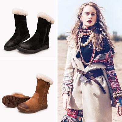 玛菲玛图女靴鞋子女冬新款真皮中筒靴女平底皮毛一体雪地靴女拉链靴女设计师女鞋530-50尾品汇 付款后3-5个工作日发货