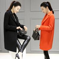 2018新款韩版毛呢外套中长款廓形呢子大衣女红色外套潮