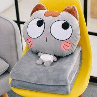 卡通午睡枕头汽车抱枕被子两用珊瑚绒腰毯子靠枕靠垫空调被三合一 暖手抱枕(40*35cm)+法莱绒毯(100*17