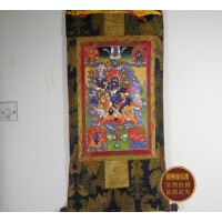 藏传佛教用品 高档双层缝制唐卡 精品镀金吉祥天母 唐卡(125*67)
