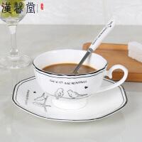 汉馨堂 咖啡杯套装 欧式陶瓷杯简约家用杯子下午茶茶具带勺创意礼品咖啡杯碟牛奶杯