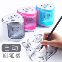 电动双孔削笔器 自动学生卷笔刀 美术绘画专用 8004