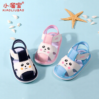 0-1-2岁宝宝包头护趾学步鞋夏季软底鞋6-12个月婴儿棉布鞋子凉鞋