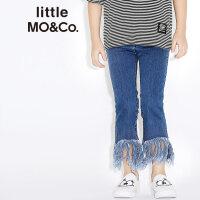 littlemoco女童装拉链搭扣个性长流苏九分喇叭牛仔裤KA171PAT408 moco