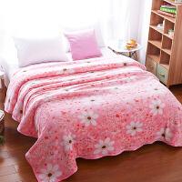 法兰绒毛毯冬季加厚垫床珊瑚毯子被子床单人夏天夏季薄款宿舍学生定制! 200x230cm+同款枕套一对 可盖可垫 贴身裸