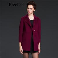 Freefeel2017新款春装羊绒大衣欧美风中长款时尚女装毛呢外套1611