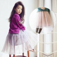 2018韩版亲子装春冬季新款童装薄纱百褶半身裙女童中大童母女装
