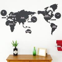 世界地图钟表挂钟客厅创意现代北欧装饰个性时尚大气时钟 黑色 黑色木纹 20英寸