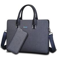 3件7折商务包精品男包出差男士手提包包横款公文包男式皮包电脑包横版包 中号蓝灰色 单包