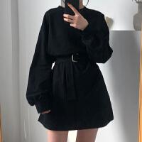 春季2020年新款长袖连衣裙女收腰显瘦气质女神范衣服春装黑色短裙
