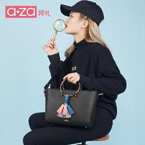 aza阿札2017新款女包 圆环流苏简洁杀手包 手提斜挎包1169