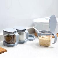 创意透明调味罐套装厨房用品塑料调味料瓶家用调味盒调料罐调料盒