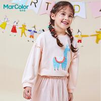 【1件2折】巴拉巴拉旗下MarColor马卡乐春新品女童卡通印花花边长袖卫衣