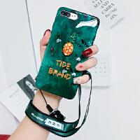 祖母绿苹果6splus手机壳挂绳iPhone6plus软套潮牌女款iPhone6硅胶6plus菠萝全