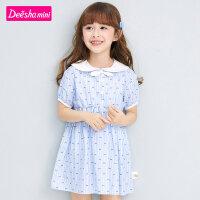【3件1.5折价:55】笛莎童装女童连衣裙2021夏季新款儿童洋气时尚甜美娃娃领连衣裙