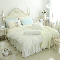 四件套韩版天鹅绒田园公主风花边床裙四件套法莱绒珊瑚绒套蕾丝床上用品