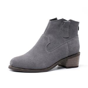如熙2017年冬季新款靴子女短靴粗跟中跟圆头切尔西靴鞋子马丁靴
