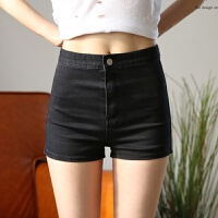 欧美新款牛仔短裤 春夏季复古修身显瘦弹力紧身热裤 高腰短裤女