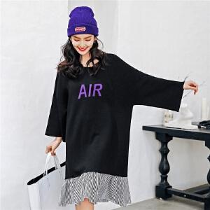 七格格字母圆领连衣裙秋装女新款韩版长袖宽松荷叶边拼接裙子