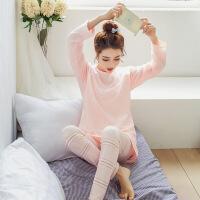 2017睡衣女秋韩版长袖家居服莫代尔棉质可爱两件套女生小天使套装