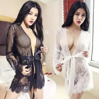 情趣内衣性感夜店真人蕾丝浴袍极度sm透明制服睡衣丝袜套装