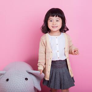 儿童秋冬外套2018新款童装女童复古小香风针织开衫宝宝V领休闲线衣