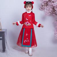 女童连衣裙秋冬装儿童旗袍宝宝唐装汉服加绒公主裙小女孩洋气裙子