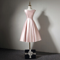 №【2019新款】冬天穿的粉色双肩晚礼服显瘦伴娘宴会小礼服短款女年会派对连衣裙