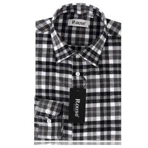 洛兹男正品秋装新款商务休闲全棉长袖格子衬衫LM14419-01