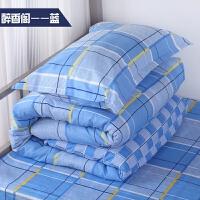 全棉学校单人床单 蓝格纯棉被套学生员工宿舍寝室床品定做 1.0m(3.3英尺)床