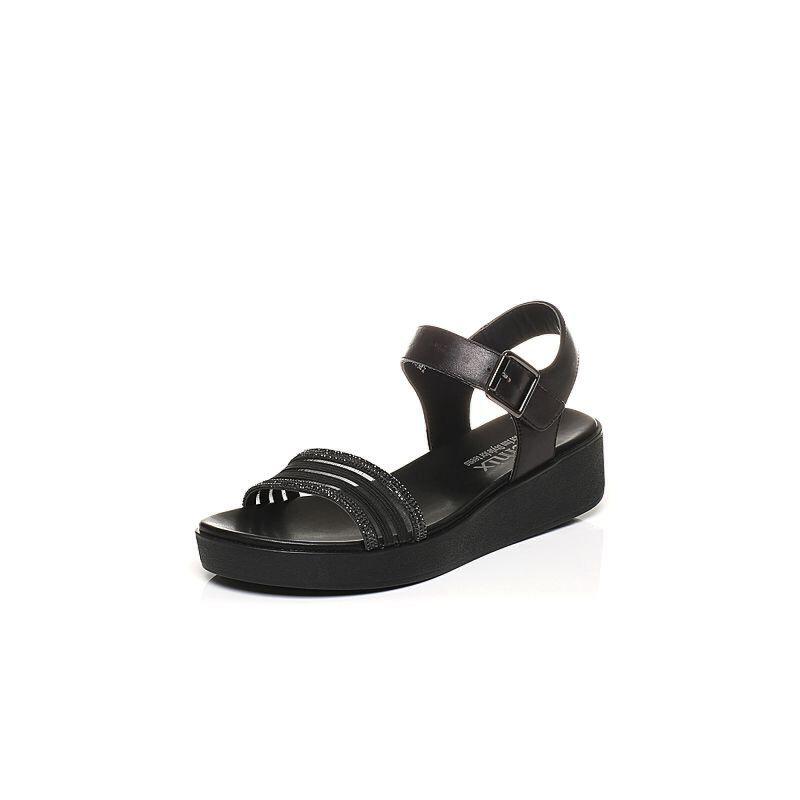Teenmix/天美意夏专柜同款牛皮钻饰一字带舒适平跟女凉鞋6Z919BL7