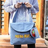 帆布包女单肩手提斜挎韩国学生原宿学院风韩版印花斜跨子母包