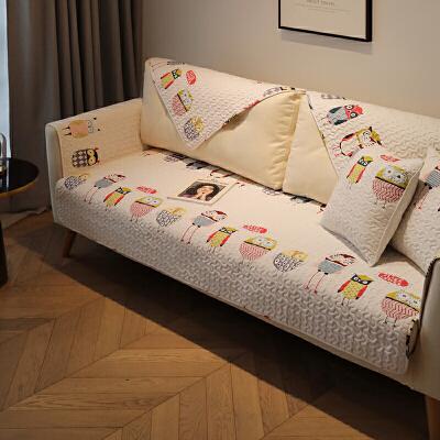 猫头鹰 防滑沙发垫坐垫沙发巾布艺 全棉沙发套罩四季通用 可定制