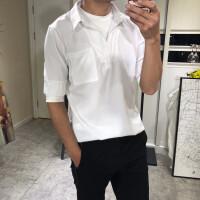 18夏季男士圆领T恤立领衬衫假两件修身潮流帅气韩版轻薄透气