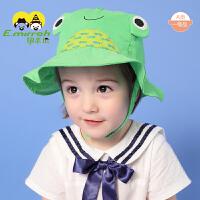 婴儿帽子夏季防晒卡通儿童帽子夏凉帽春夏男童女童遮阳帽可爱太阳帽0-6岁宝宝帽子渔夫帽S