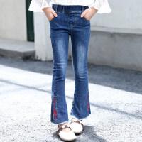 女童牛仔裤2018新款韩版儿童秋装休闲裤子女孩修身长裤洋气喇叭裤 蓝色