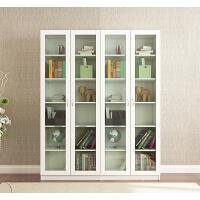 简约现代带玻璃门书柜书架组合办公文件柜落地实木收纳储物柜白色