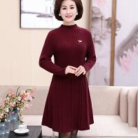中老年女装秋冬装羊毛连衣裙中年妈妈加厚中长款打底衫毛衣30岁40