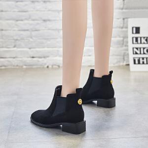 ZHR切尔西靴女及踝靴小短靴学生短筒女靴子裸靴2018秋冬季新款