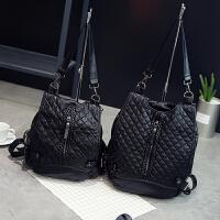 时尚潮多功能水洗皮旅行包单肩两用软皮包包双肩包女韩版