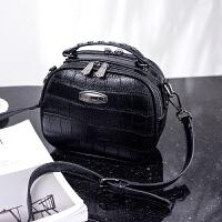 小包包女2018新款真皮时尚单肩包女包鳄鱼纹双层个性手提包斜跨包SN5791 优雅黑 收藏送卡包