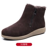 №【2019新款】冬天穿的妈妈棉鞋女冬加绒短靴平底老人棉靴中老年羊毛雪地靴