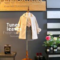 童装新款冬装女童韩版纯色加厚单排扣上衣呢子大衣外套A3-A3